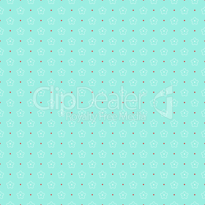 Seamless pattern of outlines white flowers and circles