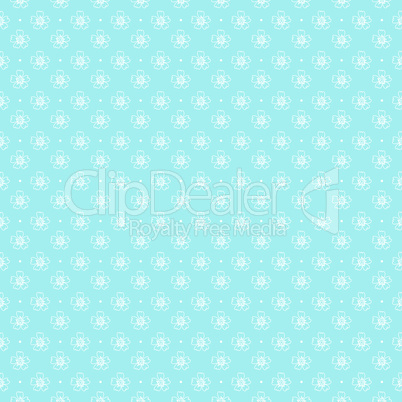 Seamless pattern of outlines white flowers