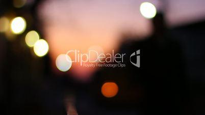 Blurred bokeh traffic lights