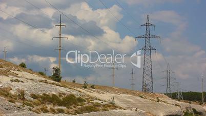 large high-voltage transmission lines