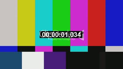 Tv color bars with counting seconds