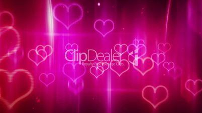 glowing neon hearts loop background