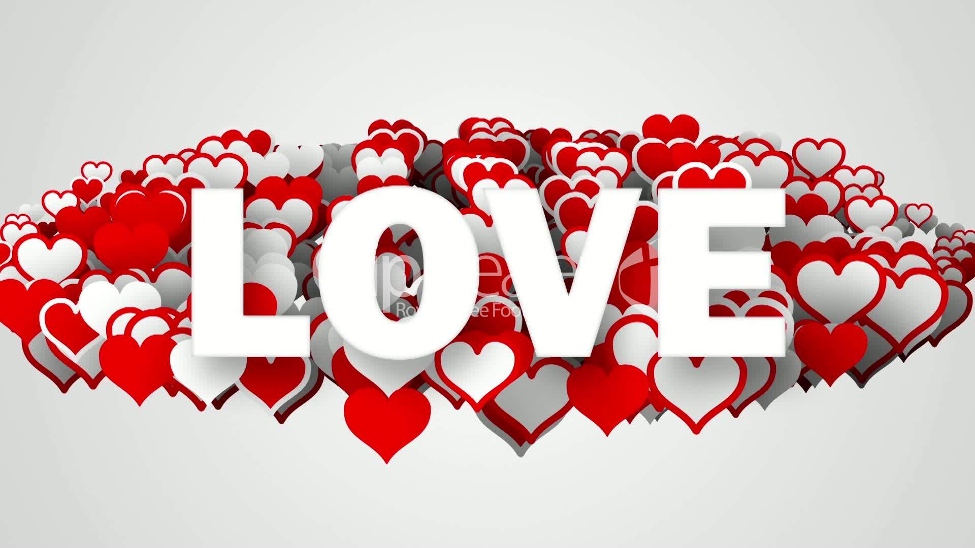 Love Text On Heart Shapes Loop Royalty Free Video And Stock Footage