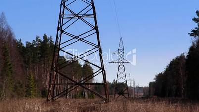 Two electricity tower in the forest