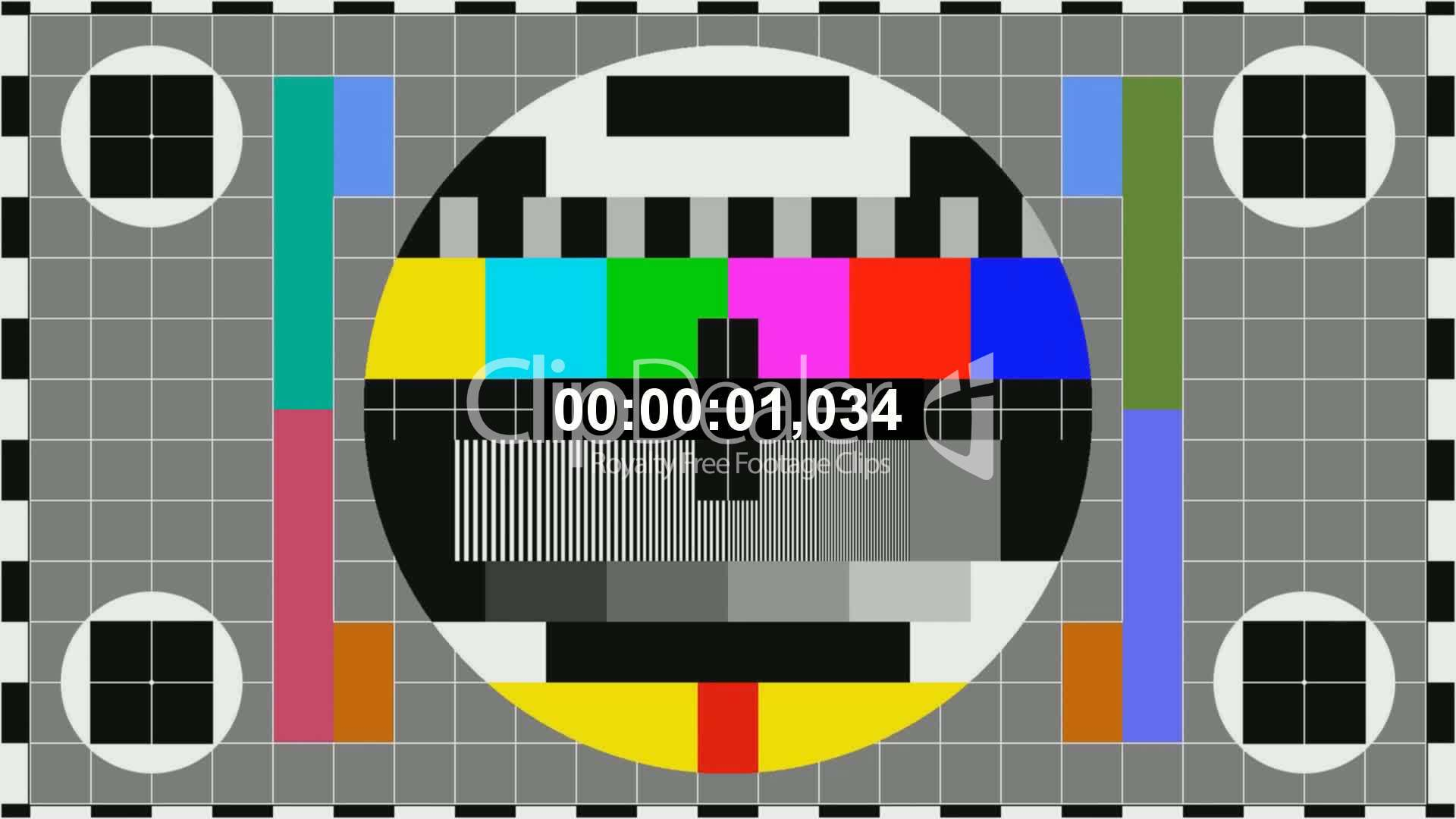 Tv Color Bars With Counting Seconds Royalty Free Video And Stock