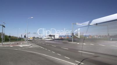 Fast motion of cars passing the road