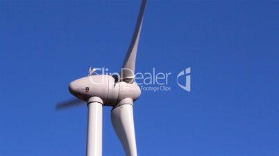 Three-bladed windmill turning