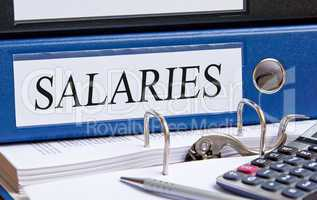 Salaries - blue binder in the office