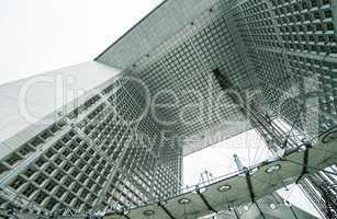 PARIS - JUNE 17, 2014: Powerful structure of Grand Arche in La D