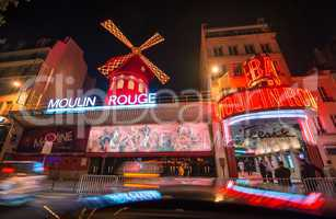 PARIS - JUNE 22, 2014: The Moulin Rouge night lights in Paris, F