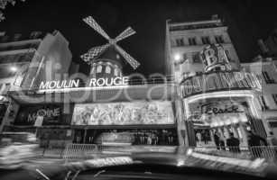 PARIS - JUNE 22, 2014: The Moulin Rouge night lights in Paris, F