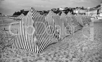 Blue and White striped beach huts,dinard,beach - Brittany, Franc