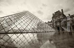 PARIS - JUNE 19: The Louvre museum and the pyramid on June 19, 2