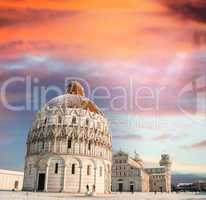 Sunset sky over Pisa Baptistery - Miracles Square in winter