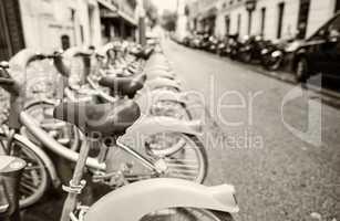 PARIS, FRANCE - JUNE 19: Some bicycles of the Velib bike rental