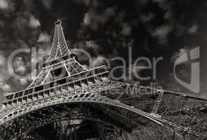 Beautiful colors of Eiffel Tower and Paris Sky