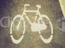 Retro look Bike lane sign