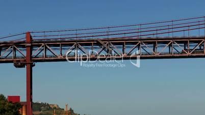 Train on the Lower Level of the 25 de Abril Bridge in Lisbon, Portugal.