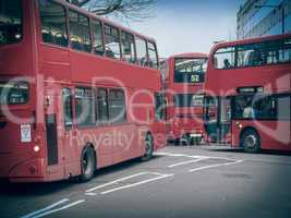 Retro look Red Bus in London