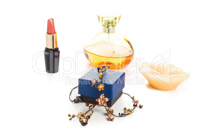 necklace lipstick and perfume