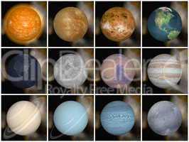 Solar system planets - 3D render