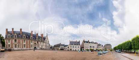 Castle of Blois along Loire river with city square