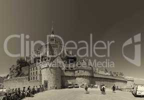 Mont Saint Michel, Normandy - France. View of city walls and abb