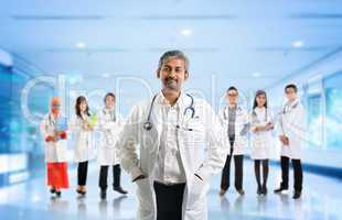 Multiracial diversity Asian medical team
