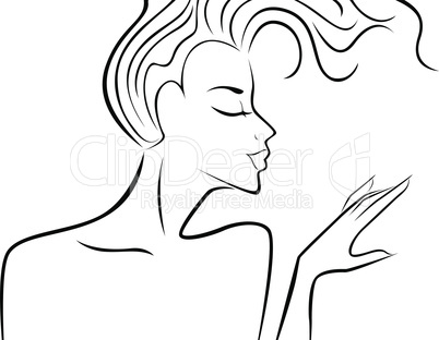 Female silhouette with flowing hair