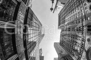 Upward fisheye view of Manhattan Tall Skyscrapers -  New York Ci