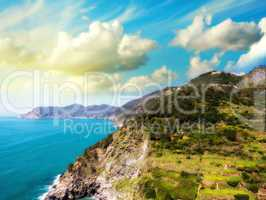 Beautiful Mountains and Sea of Cinque Terre in Spring Season, It