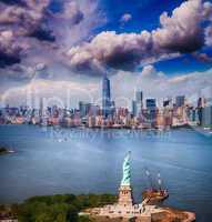 Statue of Liberty and Manhattan skyline. Spectacular helicopter