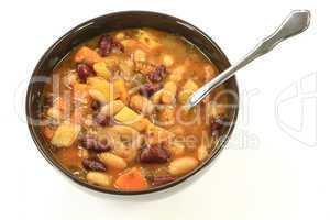 White and Red Kidney Beans Soup herbs seasonings