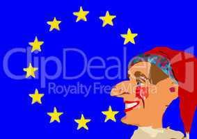 Europa Flagge mit Kasper