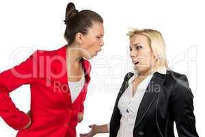 Boss woman yelling at an employee