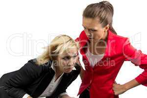 Chief woman yelling at an employee