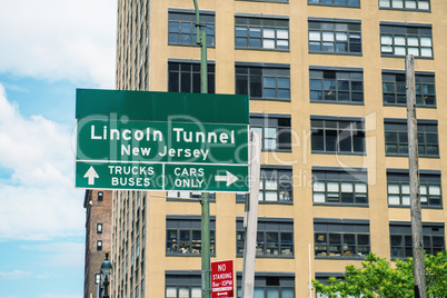 Lincoln Tunnel sign in Manhattan