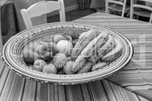 Tray of fresh fruits on the table