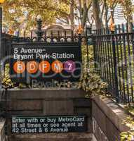 Fifth Avenue - Bryant Park subway station entrance in New York