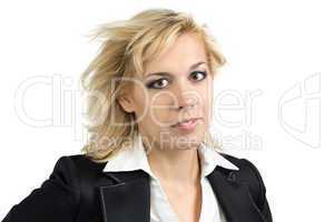 Businesswoman with flowing hair