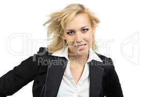 Smiling businesswoman with flowing hair