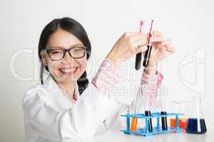 Lab worker doing blood sample test analysis