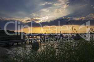 Blick durch Schilf auf Yachthafen bei Sonnenuntergang.