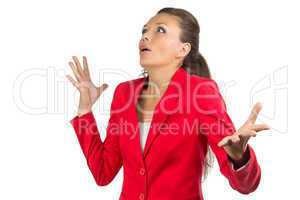 Inspired business woman in red jacket