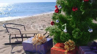 Christmas holidays on the beach resort background