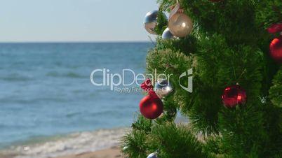 Christmas beach holidays background close-up