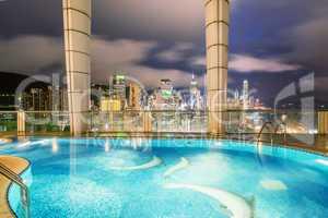HONG KONG - MAY 5, 2014: Wonderful city skyline at night. More t