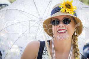 Attractive Woman in Twenties Outfit Holding Parasol