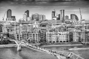 Aerial view of Millennium Bridge, London - UK