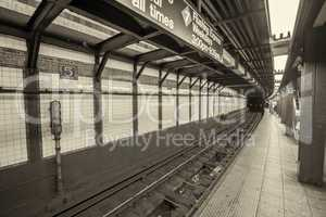 New York subway. Interior detail of railway and columns